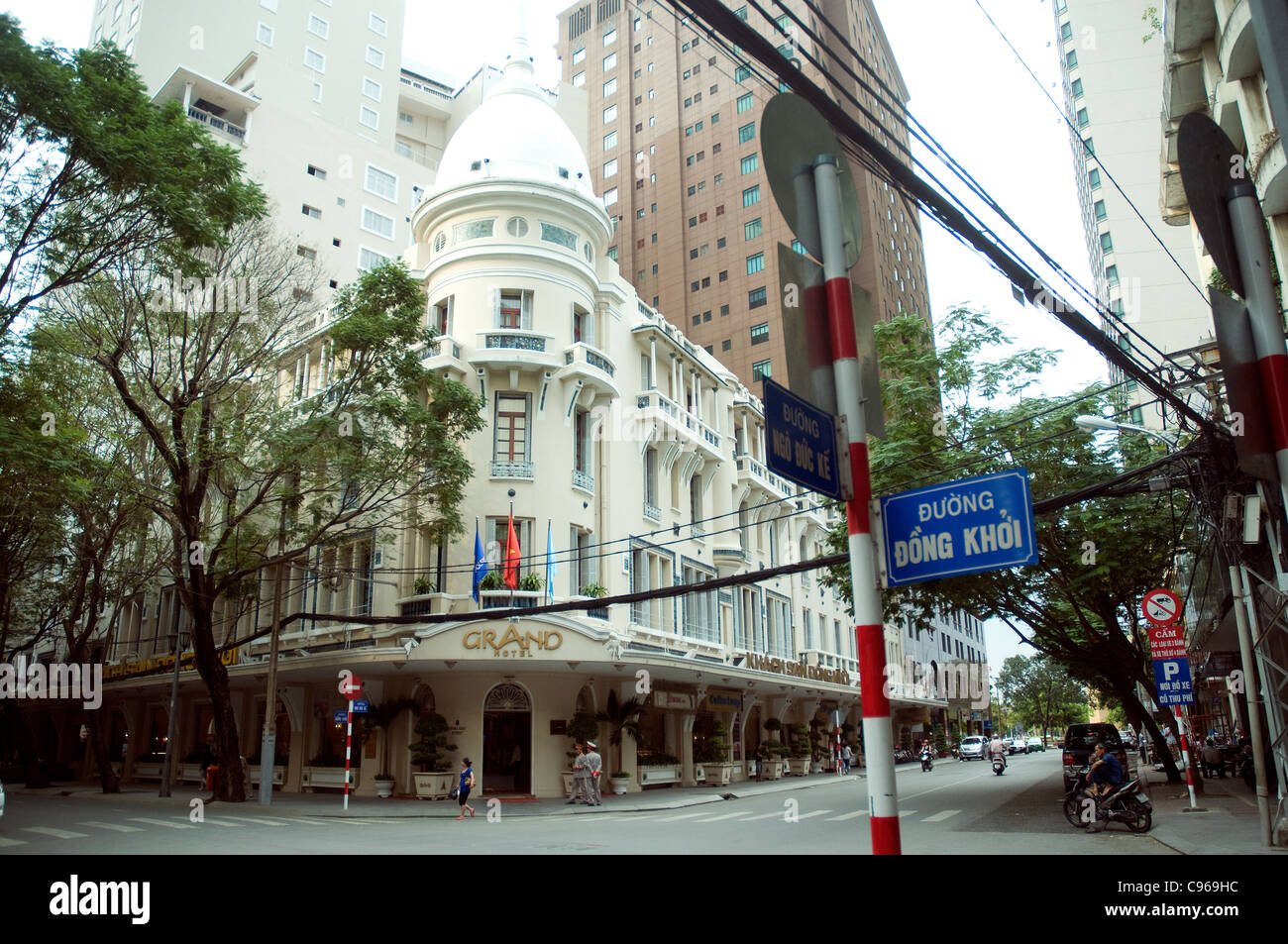 In Saigon, a gleaming refurbished Grand Hotel maintains its classic beauty as investment booms all around Stock Photo