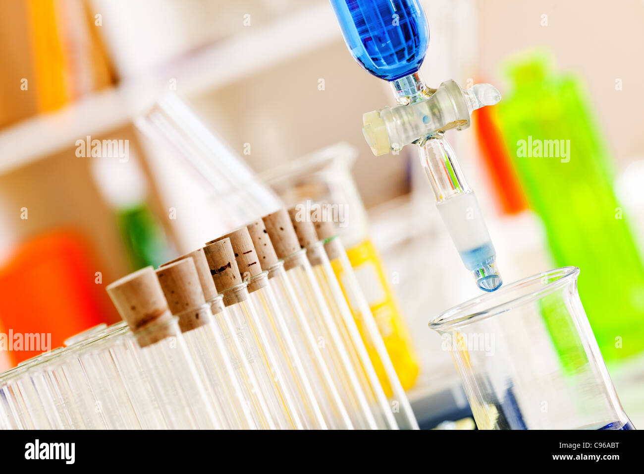 Test of a membrane nano filtration of water in laboratory - Stock Image