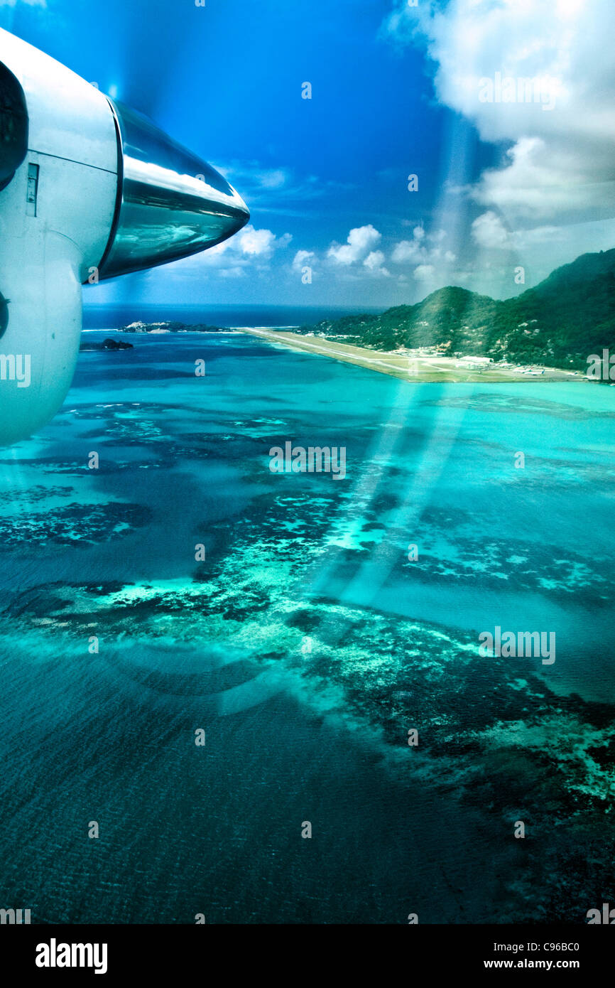 Seychelles Aerial view Mahe - Stock Image