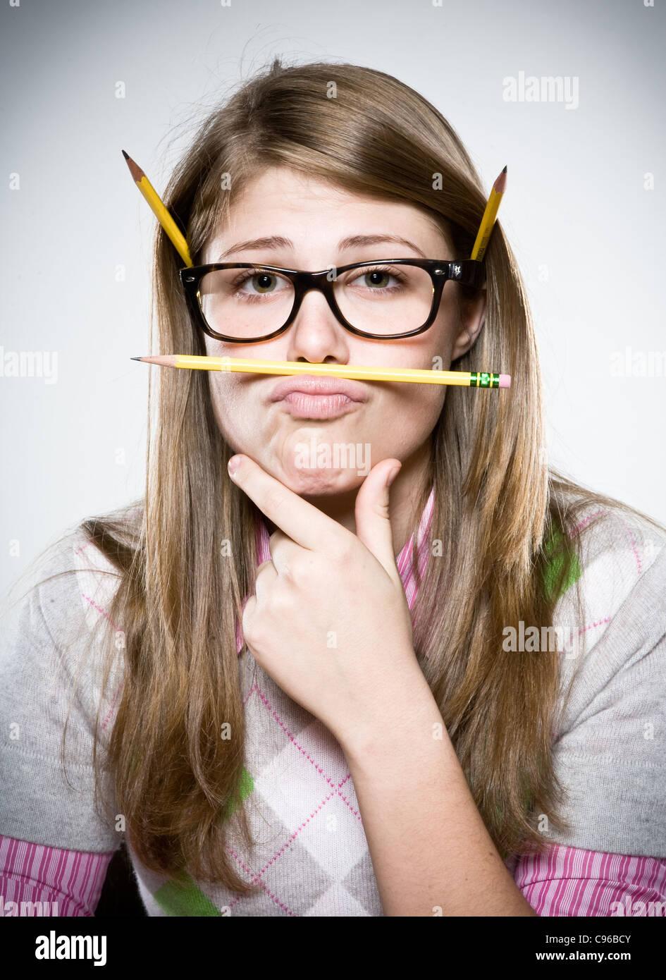 Girl acting goofy - Stock Image