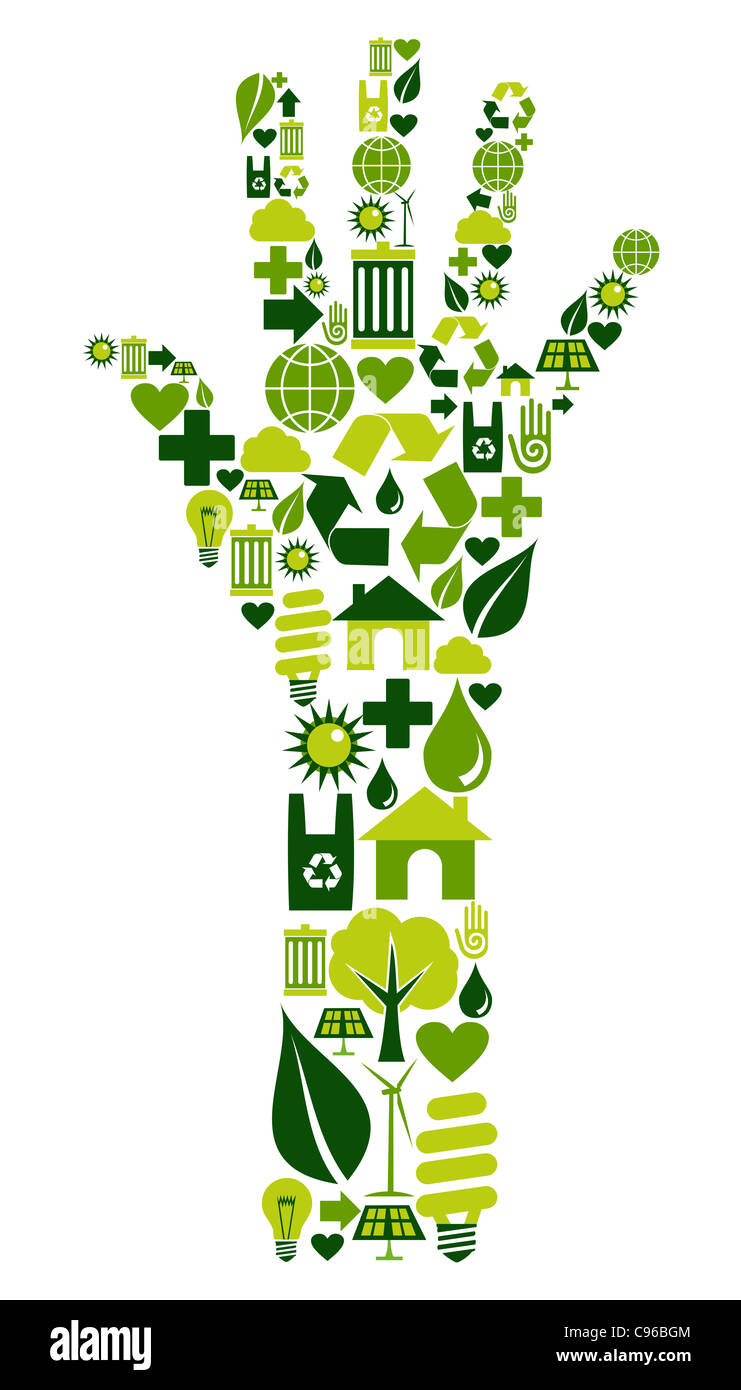 Hand shape made with environmental icons set. - Stock Image