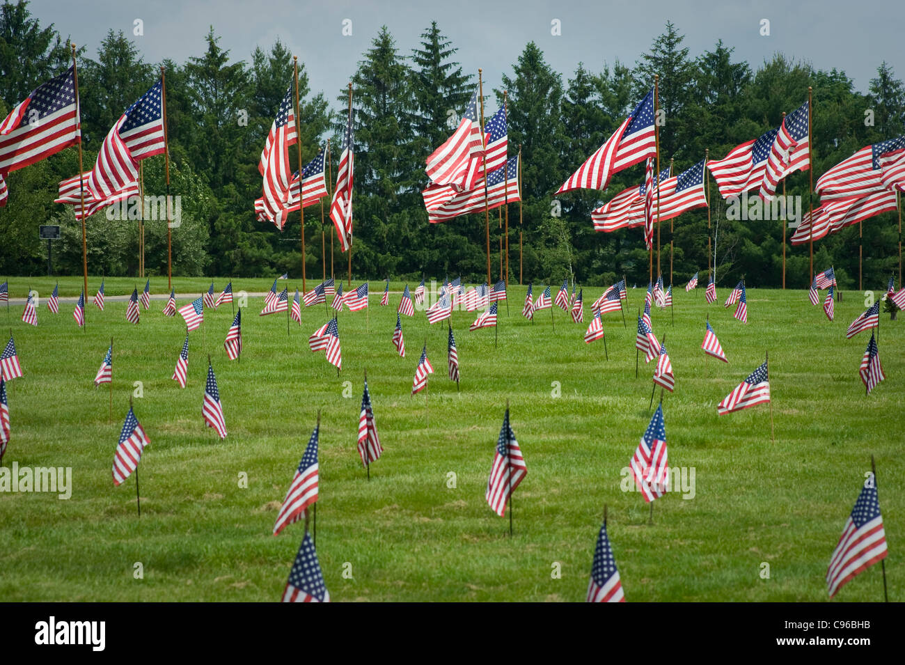 American Flags In Veterans Cemetery On Memorial Day, USA - Stock Image