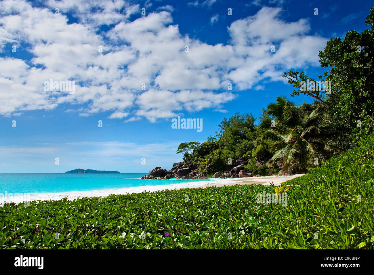 Paradise beach Seychelles Praslin Stock Photo