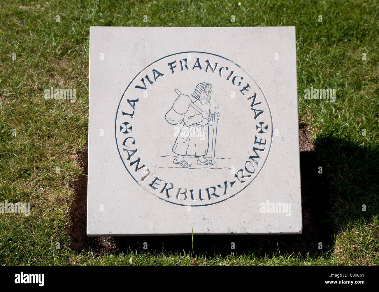Franciscan pilgrimage route stone outside Canterbury Cathedral, Kent - Stock Image