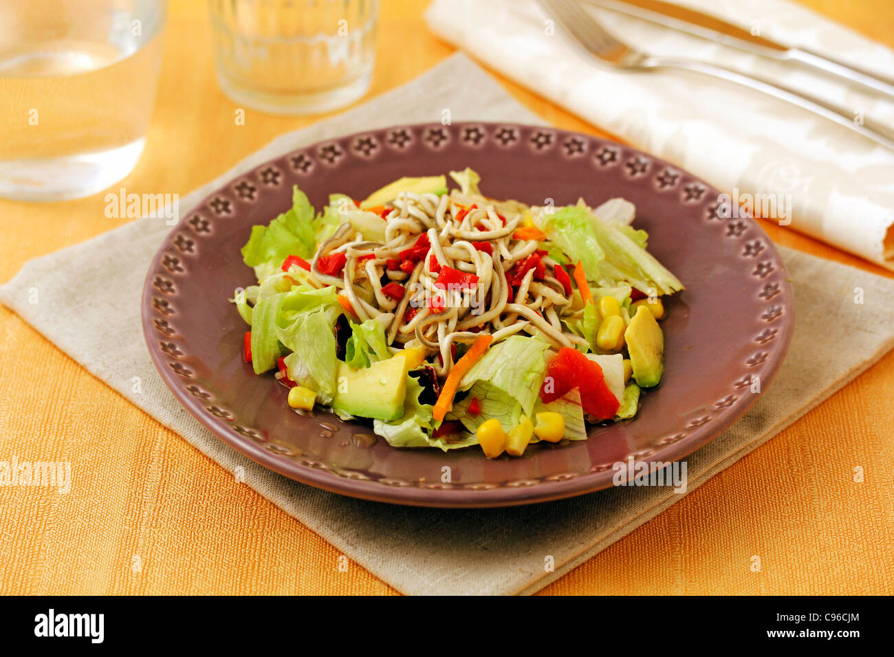 Salad with elvers substitute. Recipe available. - Stock Image