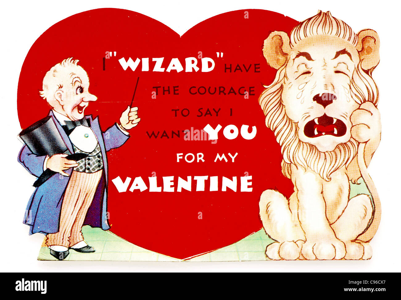 Wizard of Oz themed Valentine's Day card from the 1940s - Stock Image