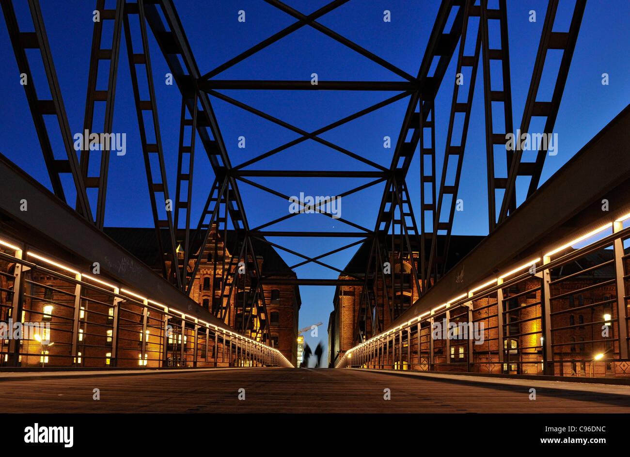 Kibbelstegbruecke bridge, Hafencity district, Hanseatic City of Hamburg, Germany, Europe Stock Photo