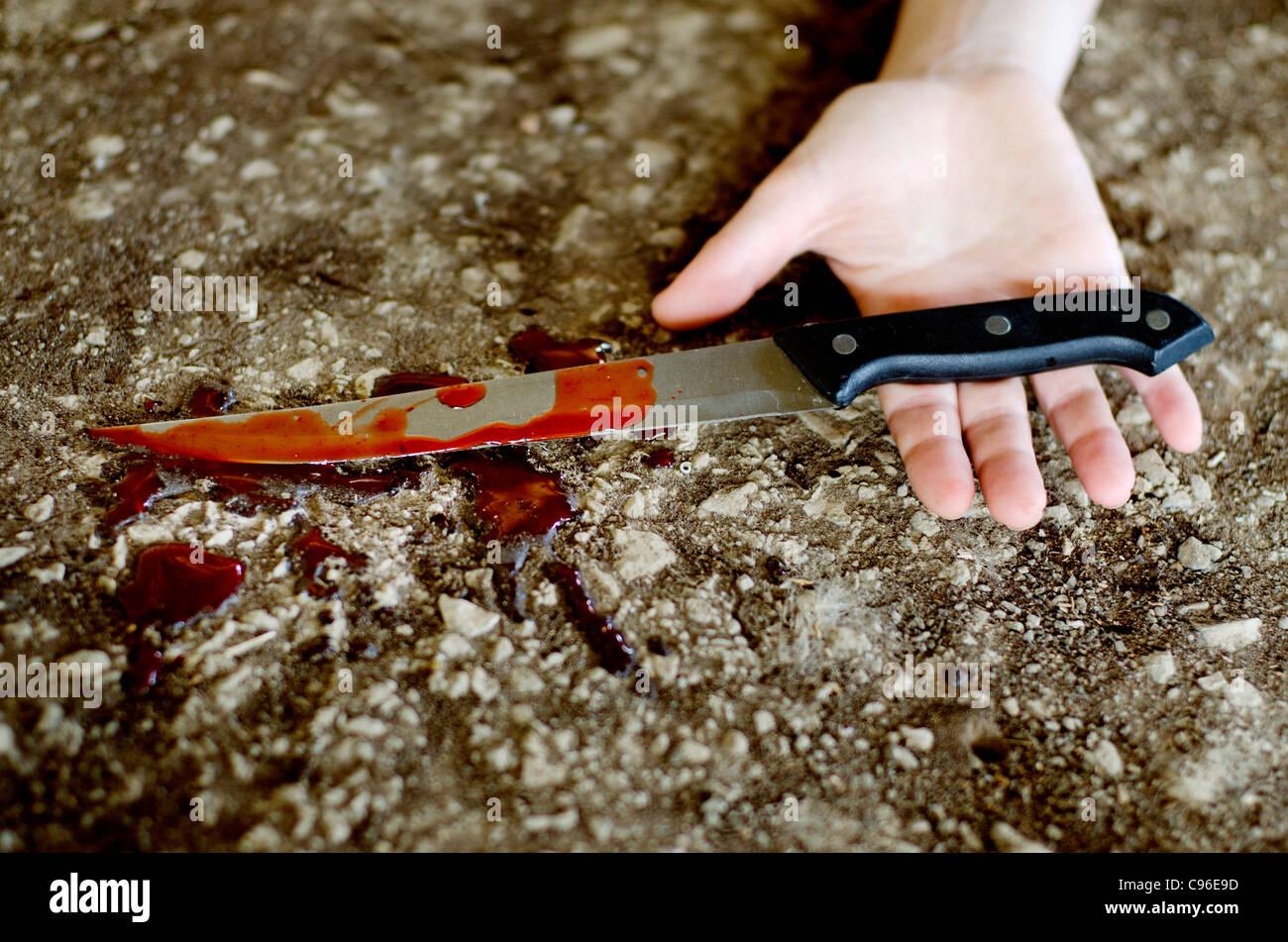 Knife Hand Violence - Stock Image