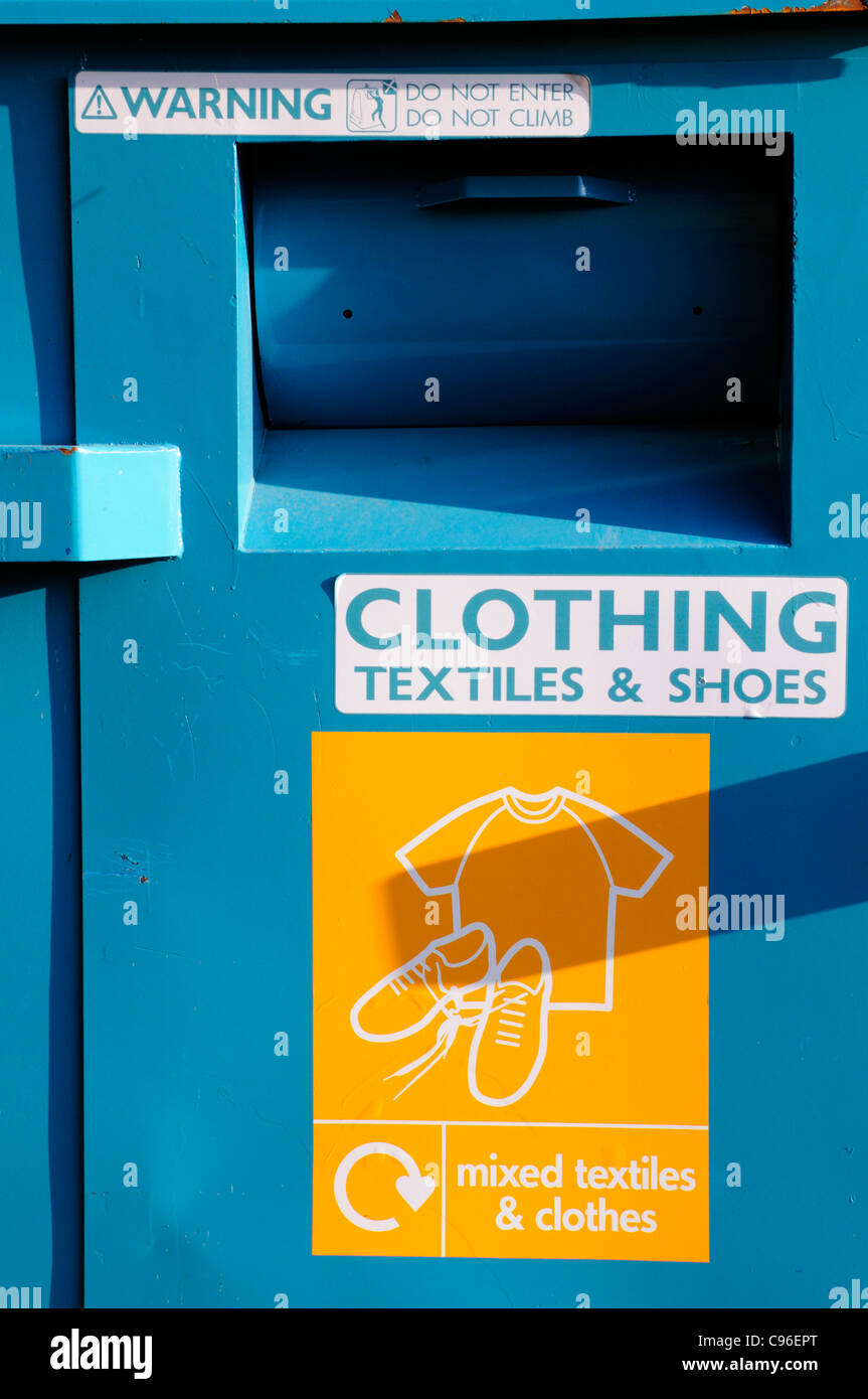 Clothing Textiles and Shoes Recycling Bank, Haslingfield, Cambridge, UK - Stock Image