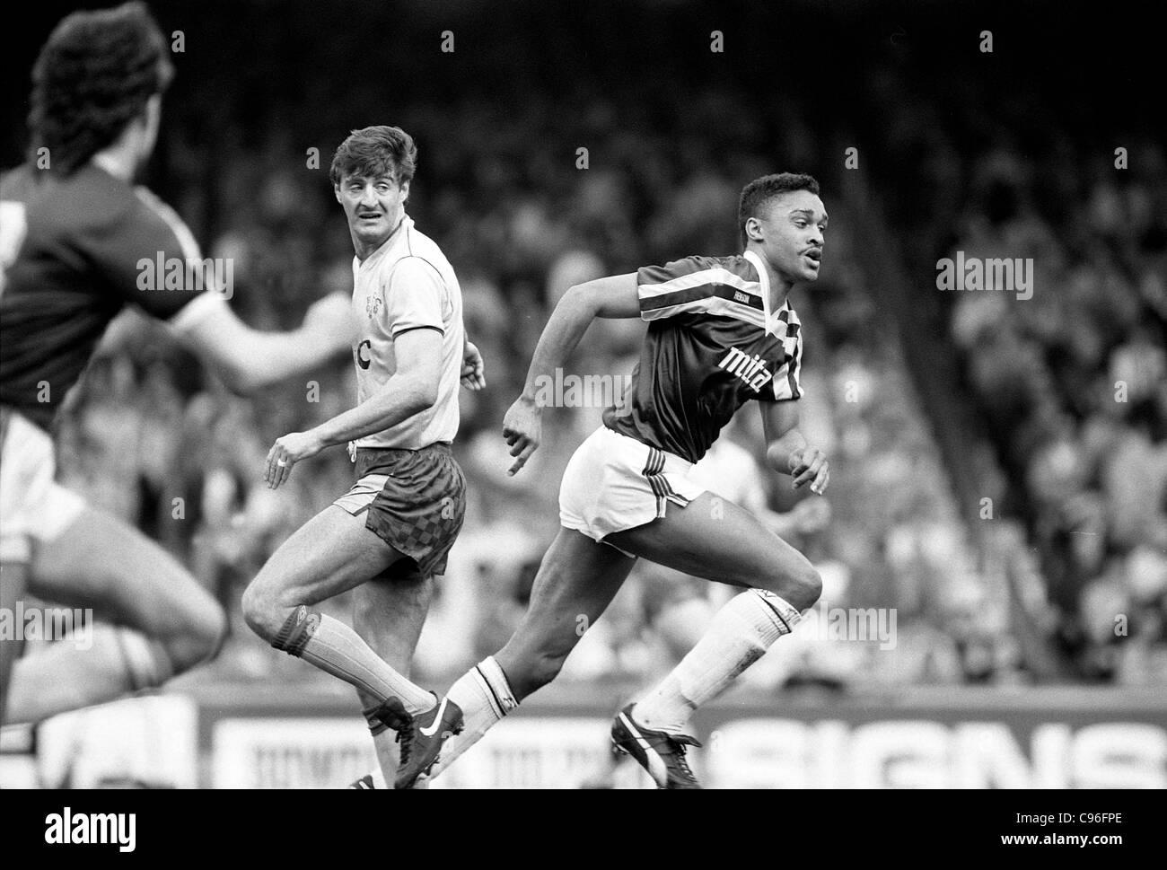 Aston Villa v Everton at Villa Park 18/4/87 Paul Elliott and Wayne Clarke - Stock Image