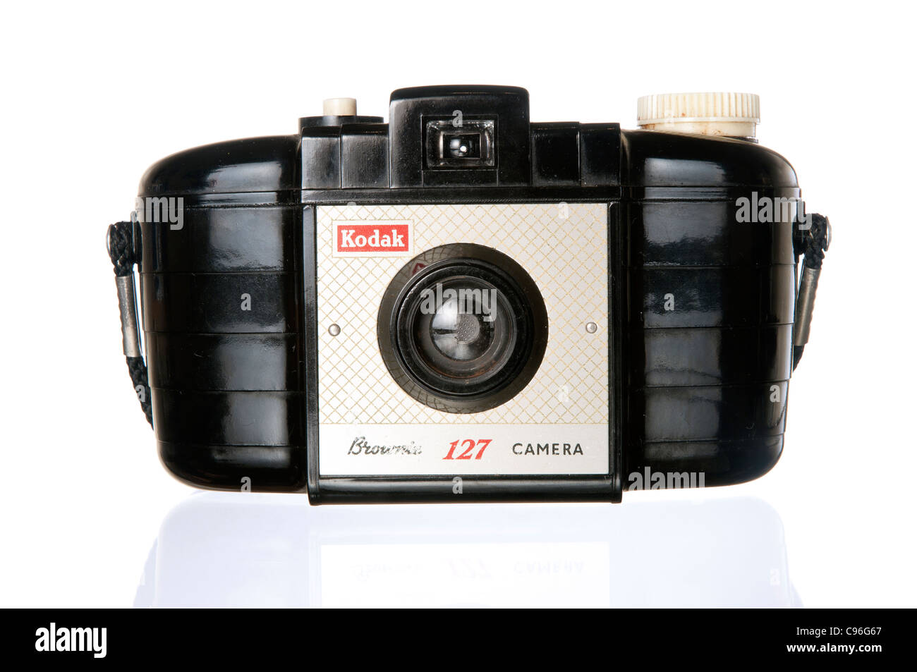 A 1960's kodak 127 brownie camera photographed against a white background - Stock Image