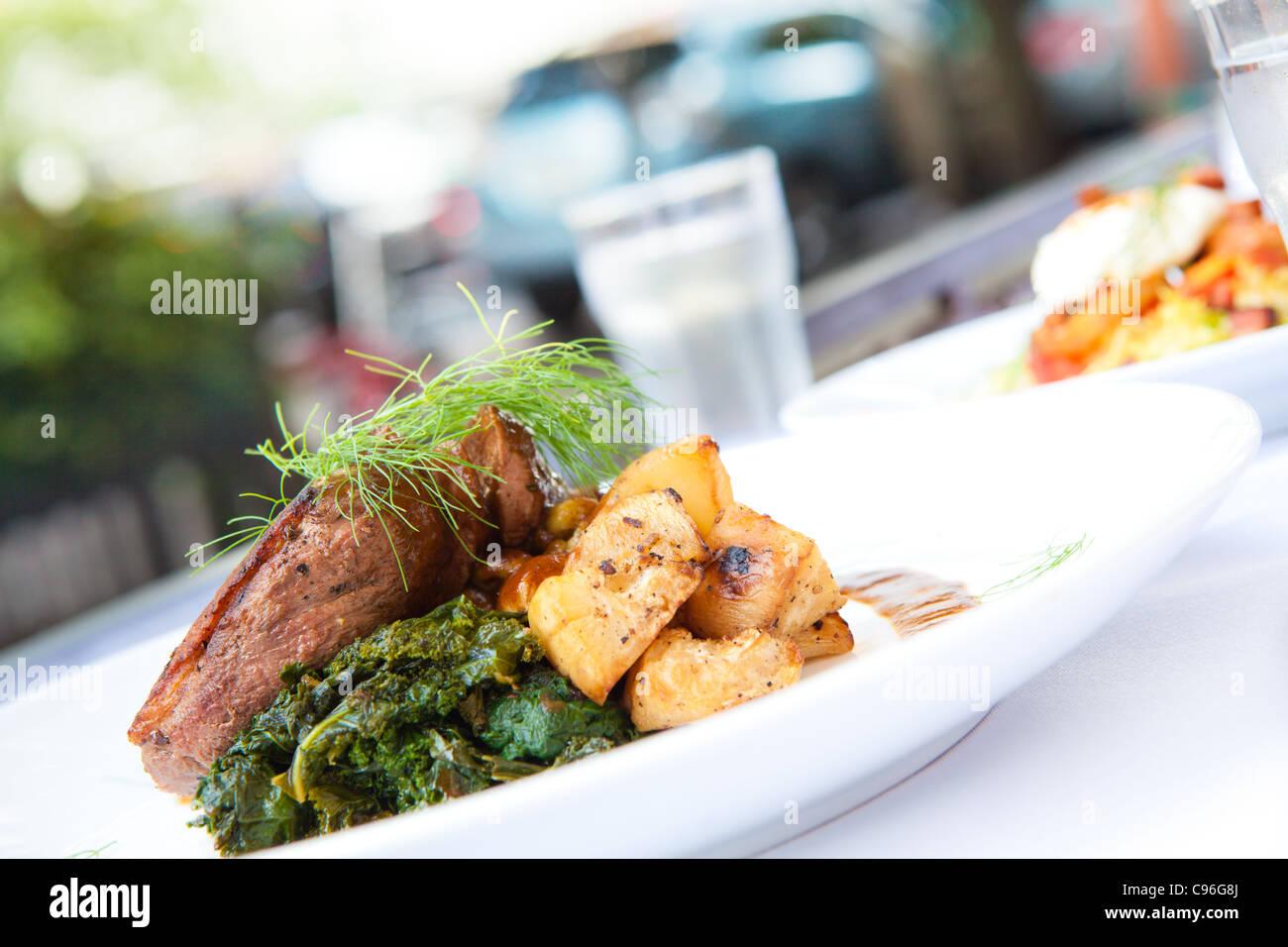 Grilled steak platter Stock Photo