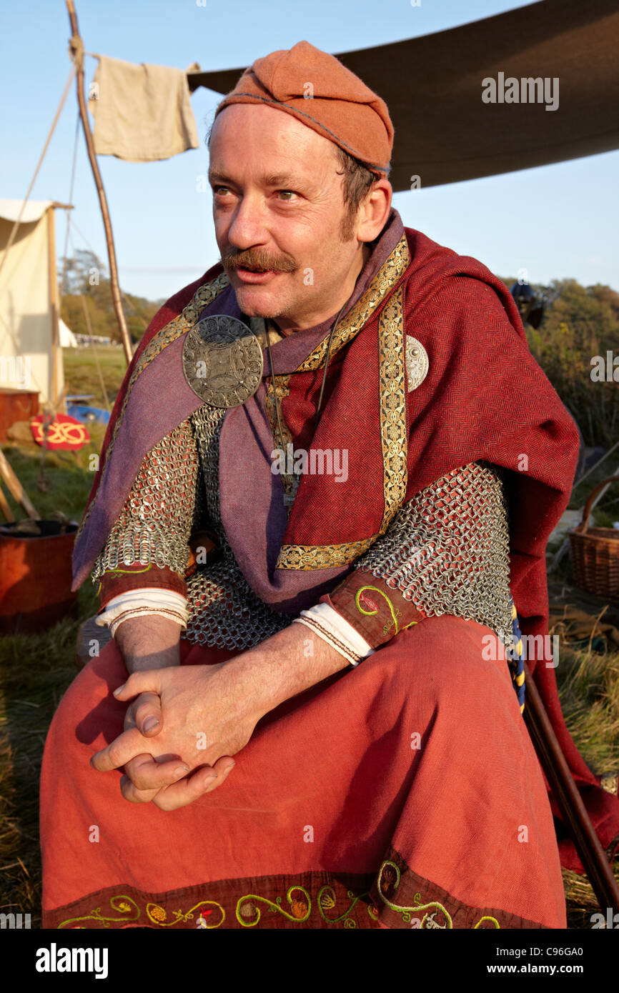 Ancient Warrior At Medieval Encampment Battle East Sussex UK - Stock Image
