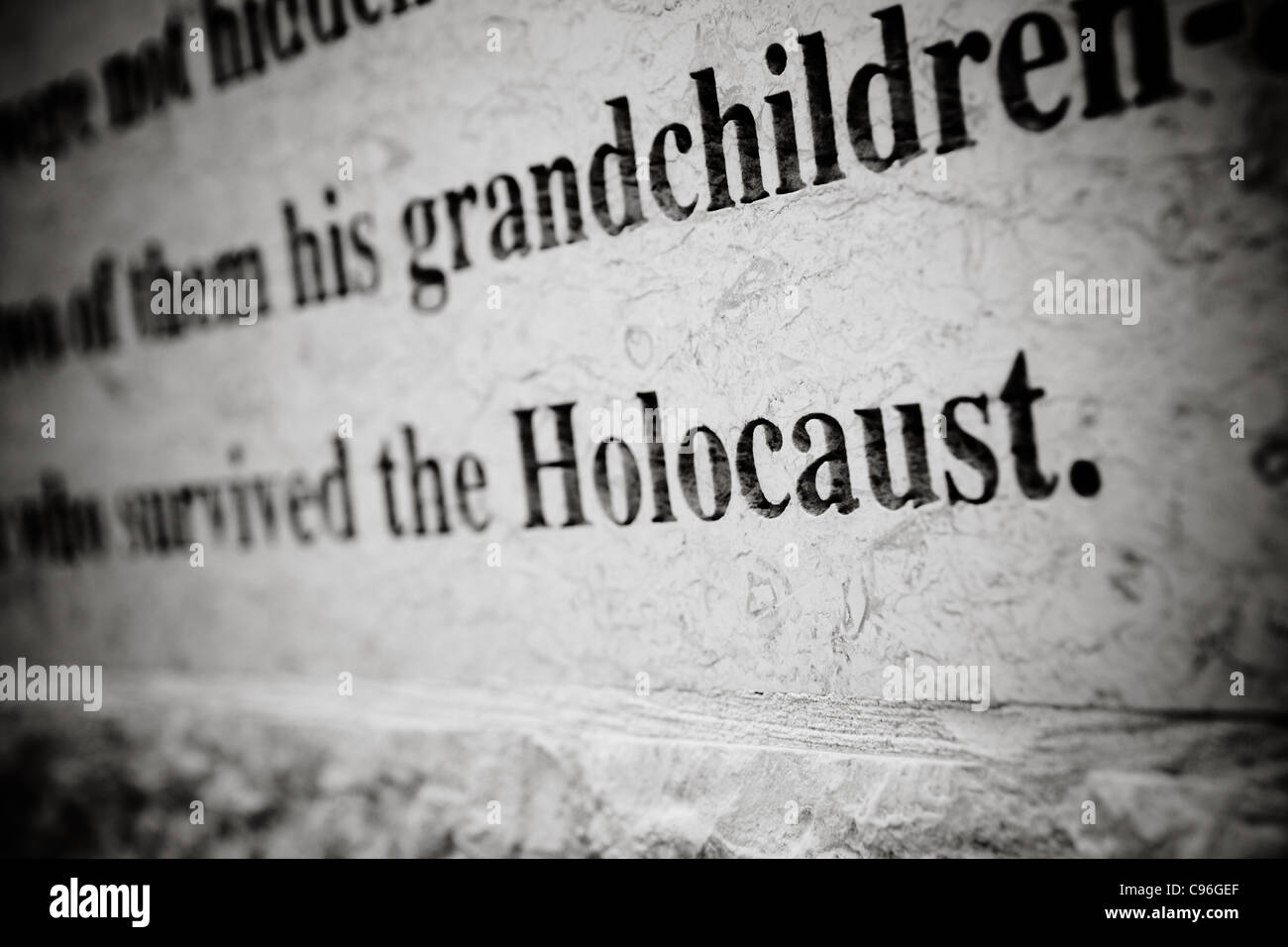 Holocaust stone carving - Stock Image