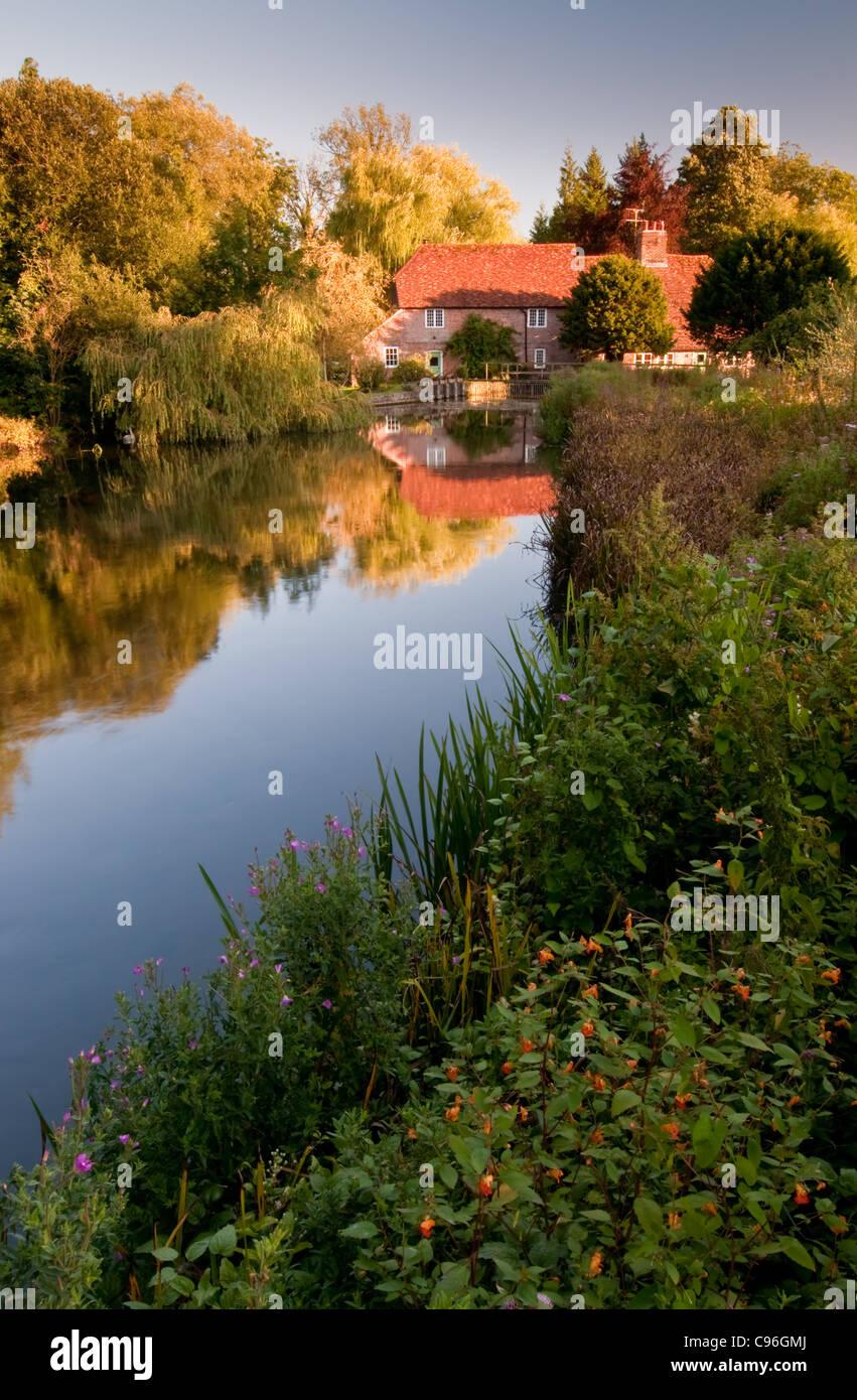 Fullerton Mill near Stockbridge in Hampshire - Stock Image