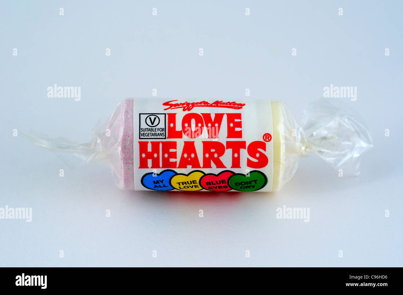 A roll of  ' Love Hearts ' sweets - Stock Image