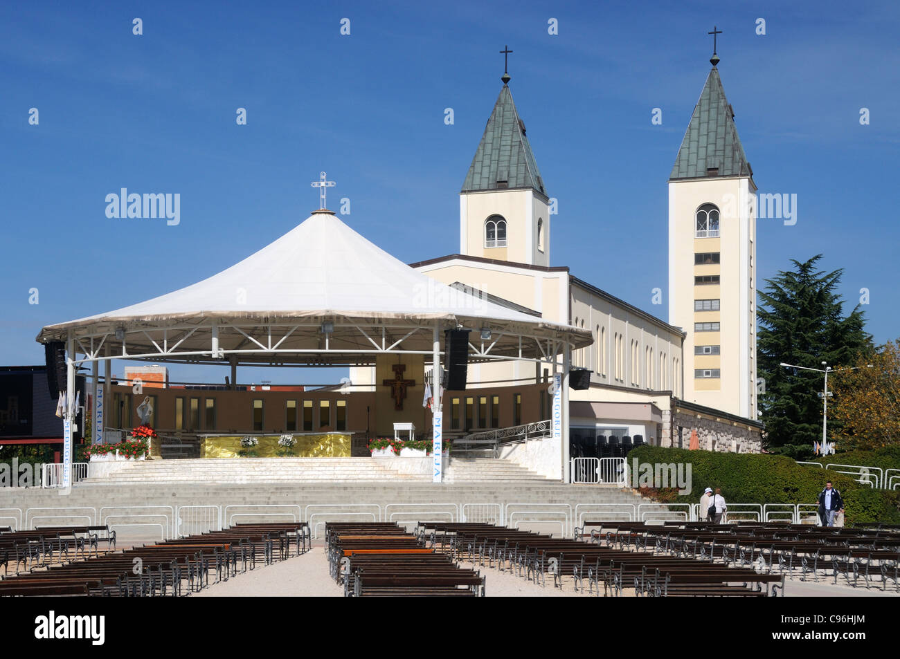 The Church of St. James, with the dais and seating for open air masses, in Međugorje, Herzegovina-Neretva, Bosnia - Stock Image