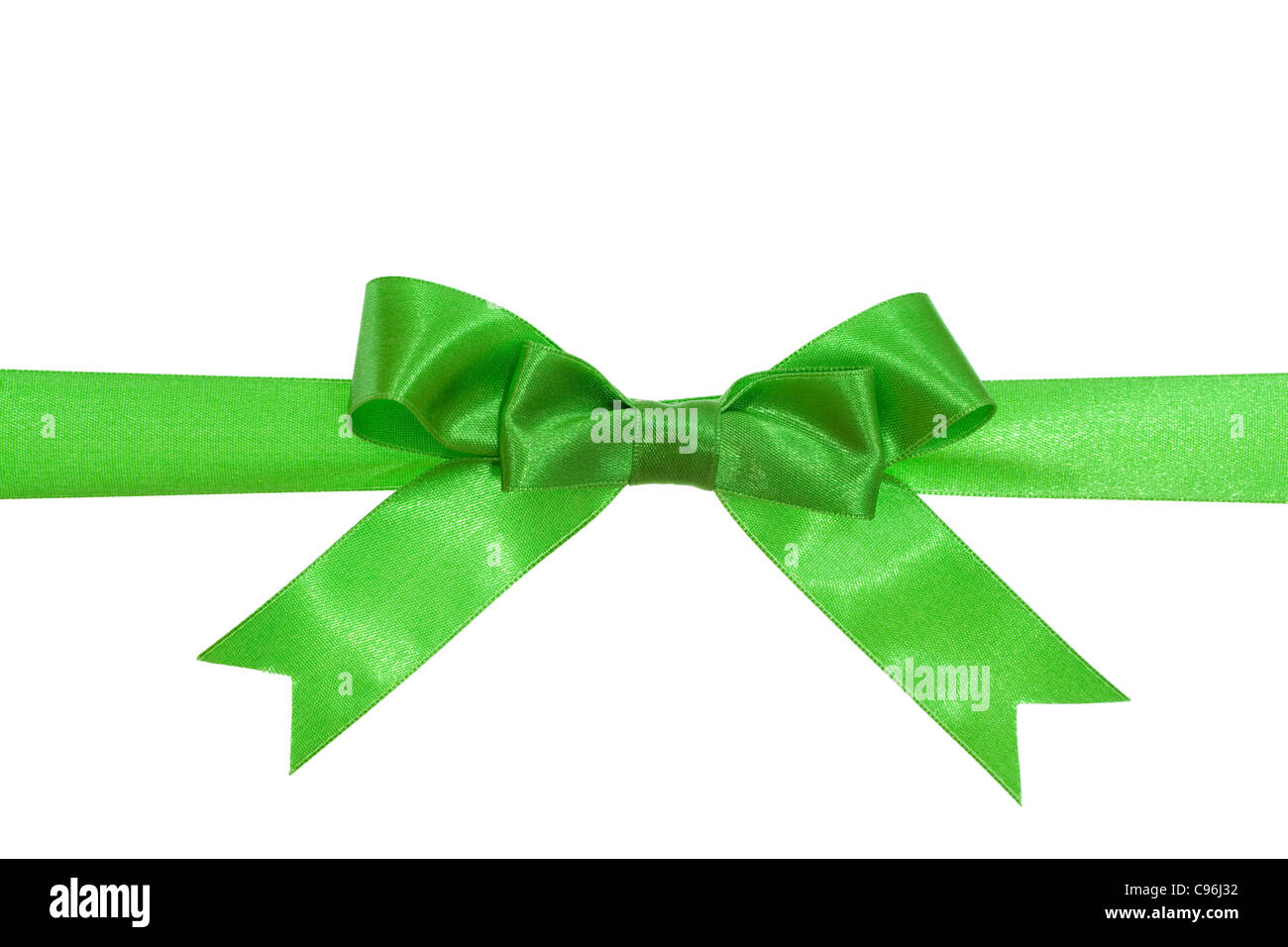 green ribbon with green bow on gift - Stock Image