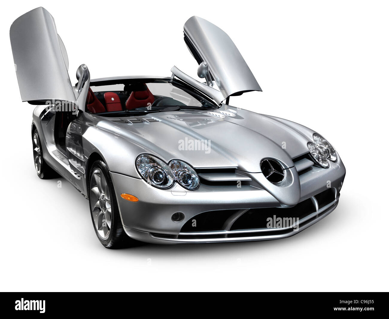 Mercedes Benz SLR McLaren Roadster Anglo-German sports car Isolated silhouette with clipping path on white background - Stock Image