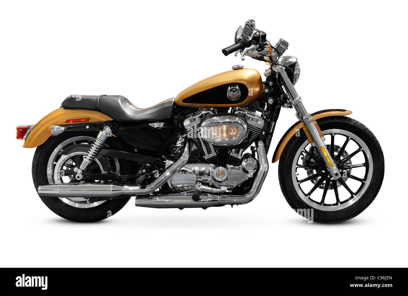 2008 Harley-Davidson 105th Anniversary Sportster Custom motorcycle. Isolated on white background. - Stock Image