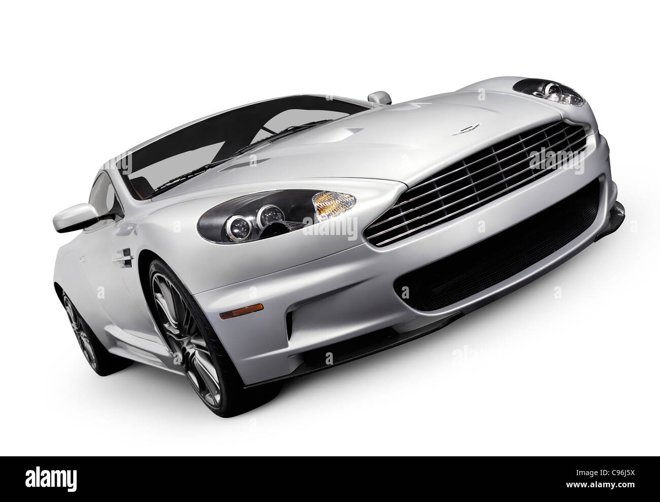 2009 Aston Martin DBS luxury car. Isolated with clipping path on white background. - Stock Image