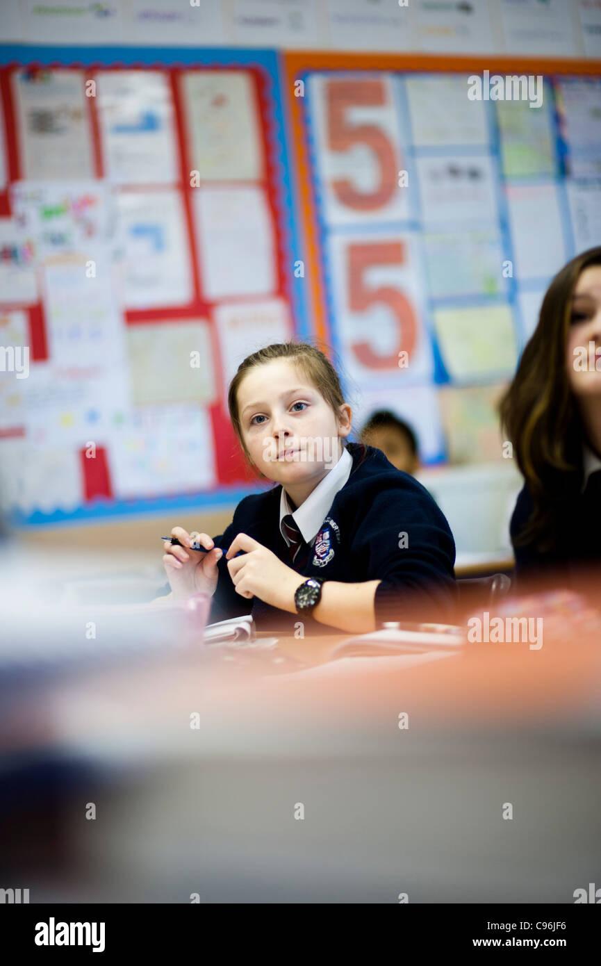 Secondary school children in class, Wales UK - Stock Image