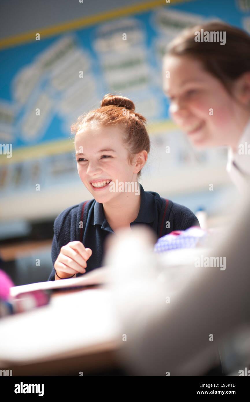 Secondary school children in class, Wales UK Stock Photo