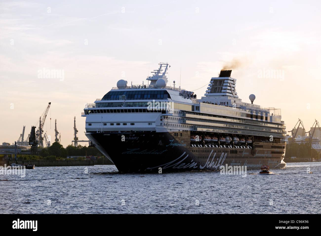Cruise ship, Mein Schiff 2, in the port of Hamburg, Hamburg, Germany, Europe - Stock Image