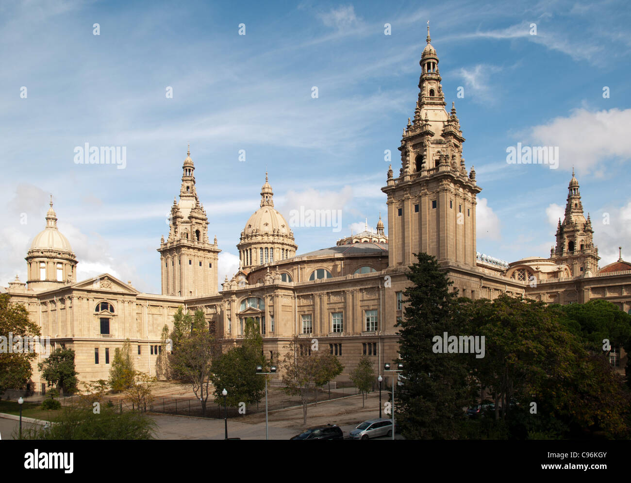 The Palau Nacional, home to the MNAC or Museu Nacional d'Art de Catalunya (National Art Museum of Catalonia), - Stock Image
