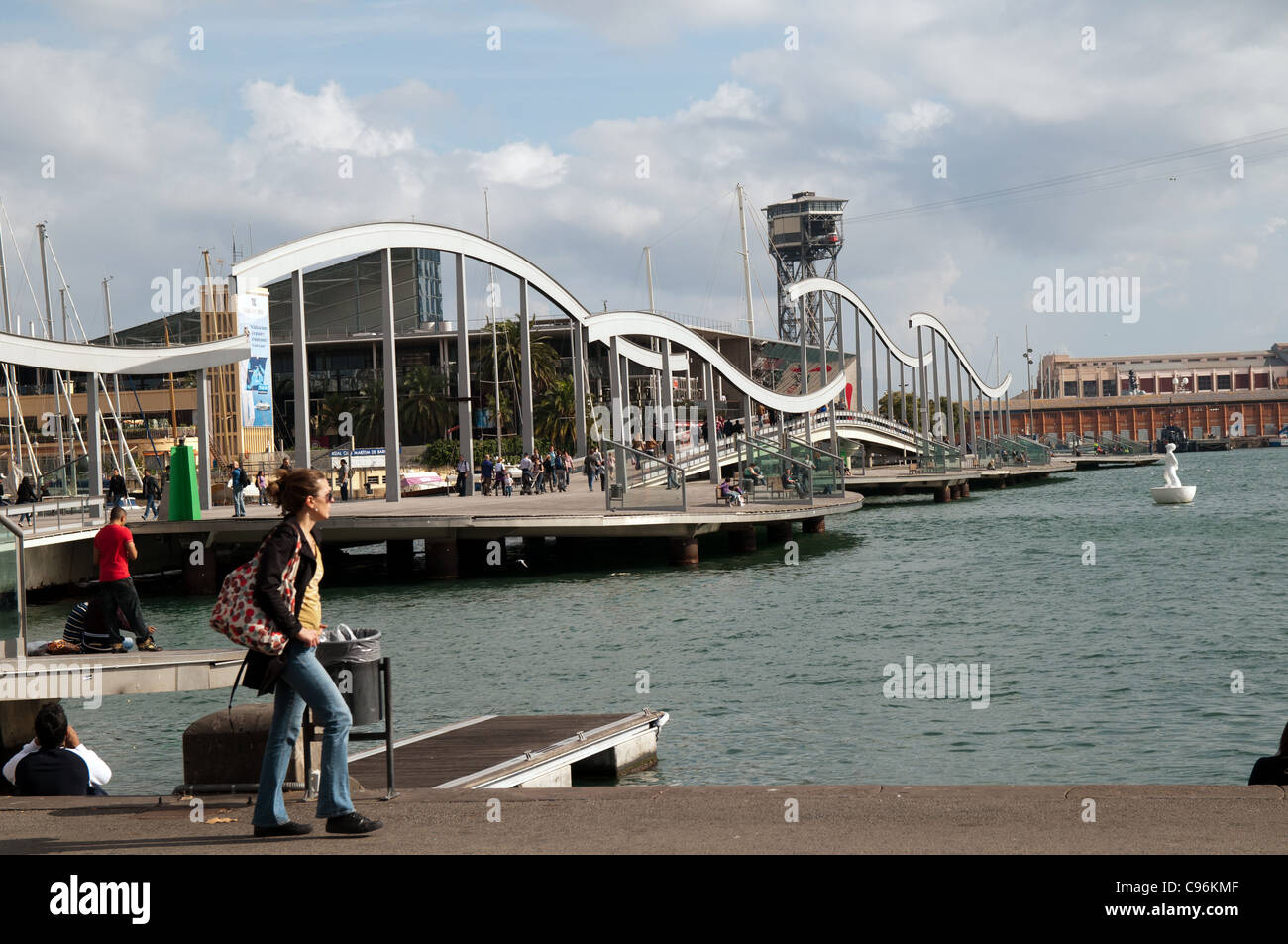 Rambla de Mar, Port Vell, Barcelona, Spain - Stock Image