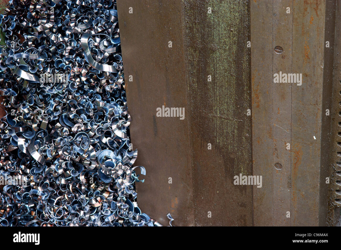 A pile of shavings from a scrapyard, turnings. - Stock Image