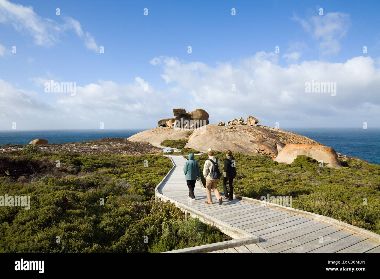 Boardwalk leading to Remarkable Rocks on the south coast of Kangaroo Island, South Australia, Australia - Stock Image