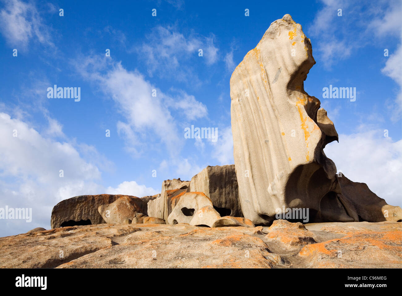The wind-eroded Remarkable Rocks on the south coast of Kangaroo Island, Flinders Chase National Park, South Australia, - Stock Image
