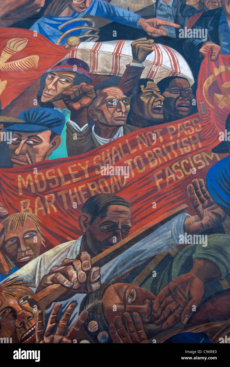 detail of the cable street mural marking the 1936 attempt  by the british union of fascists to march through london's - Stock Image