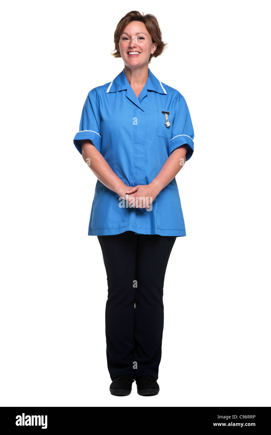 Photo of a female nurse in uniform isolated on a white background. - Stock Image