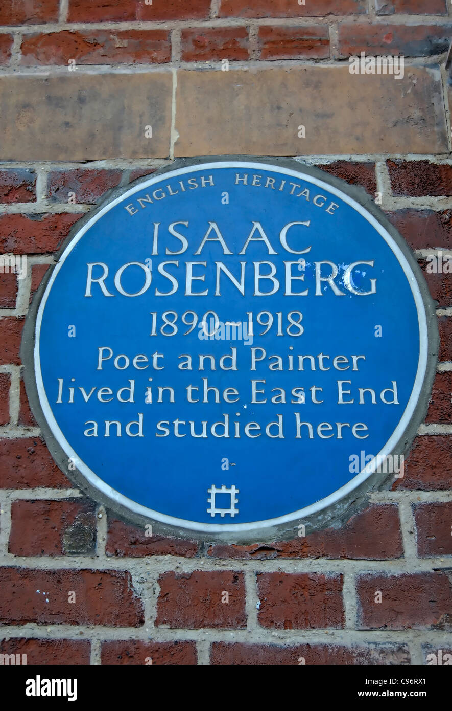 english heritage blue plaque commemorating poet and painter isaac rosenberg and his links with london's east - Stock Image