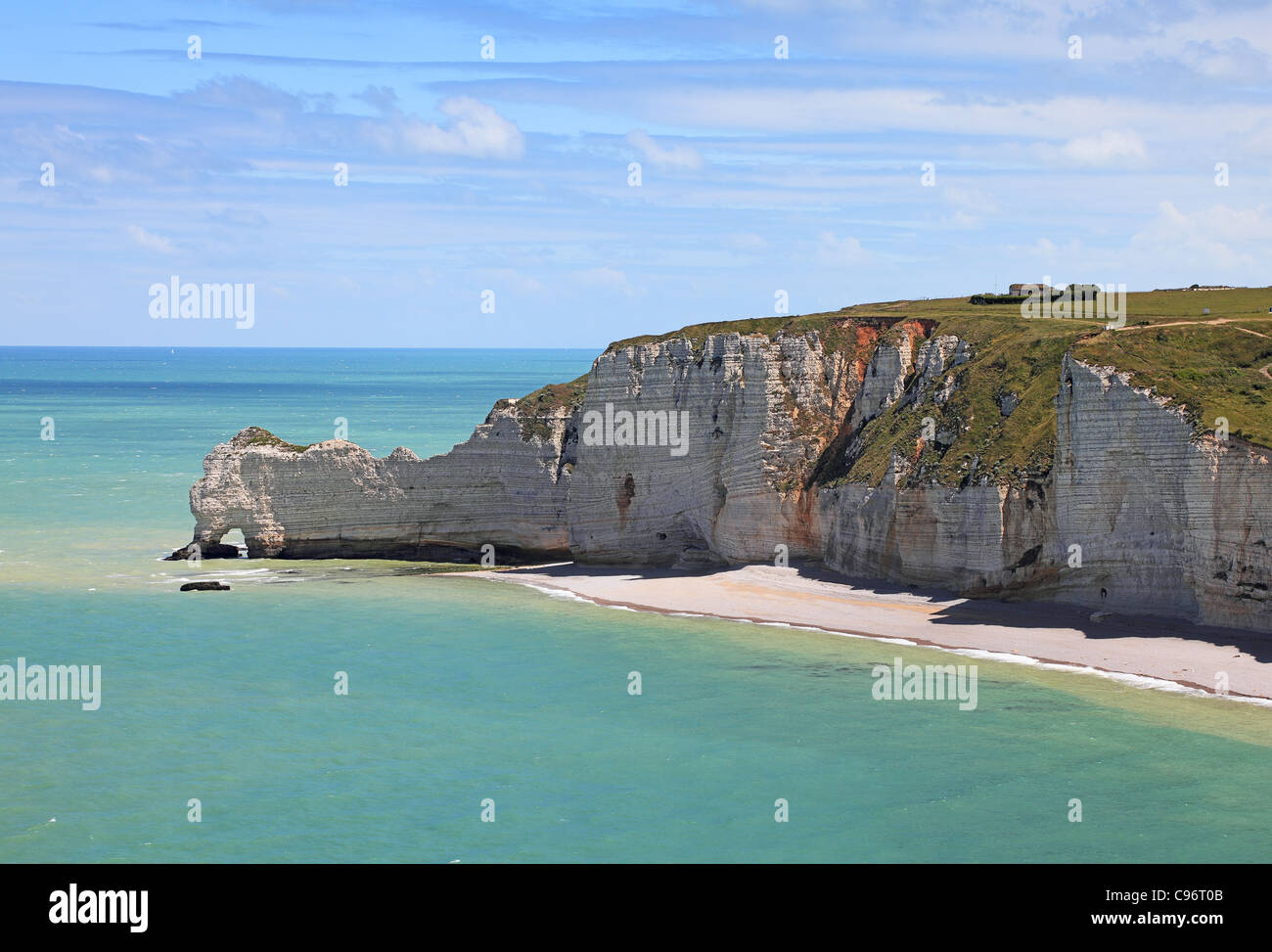 La Falaise d'Amont in Etretat on the Upper Normandy coast in the North of France. - Stock Image