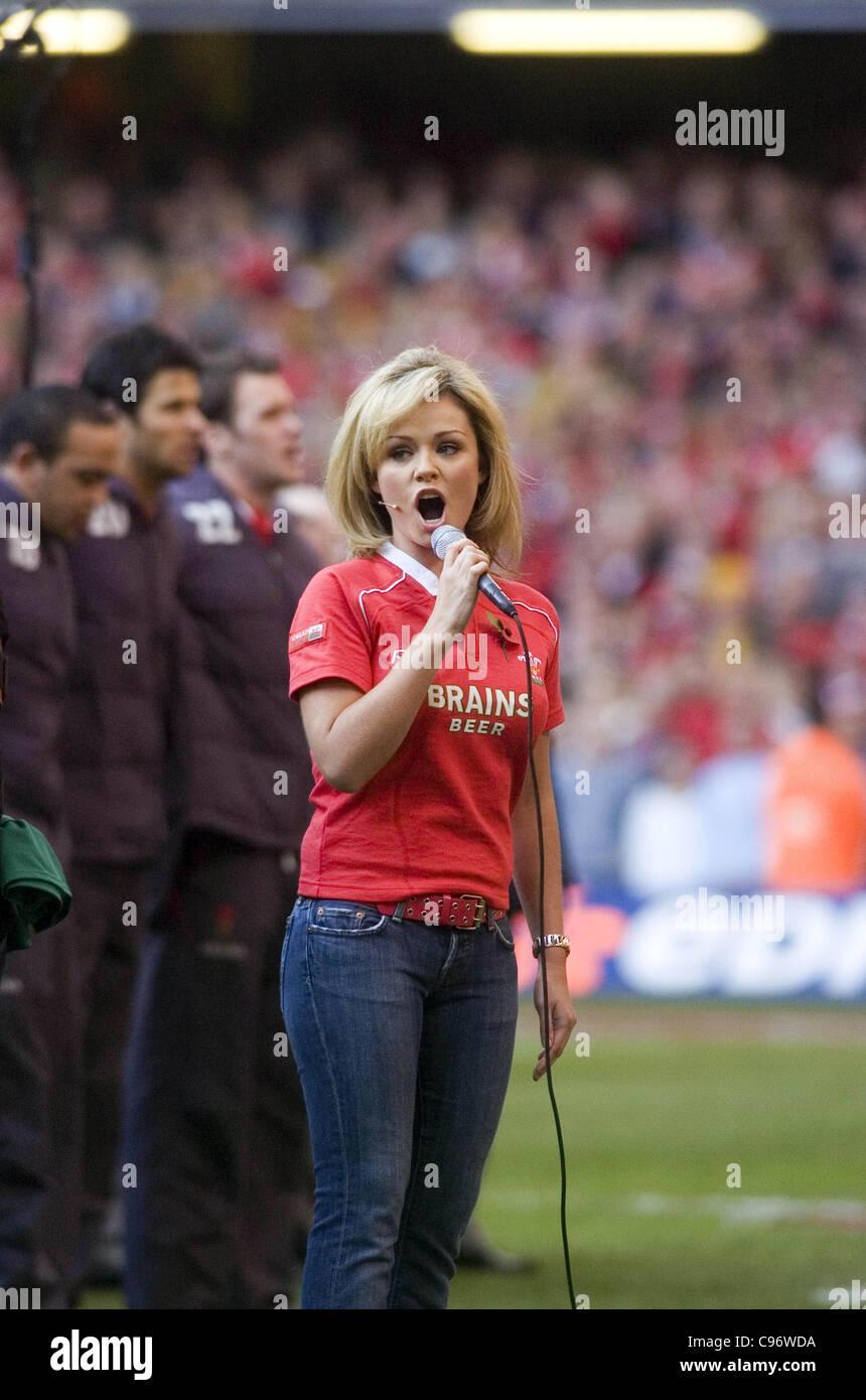 Katherine Jenkins singing the Welsh national anthem at the