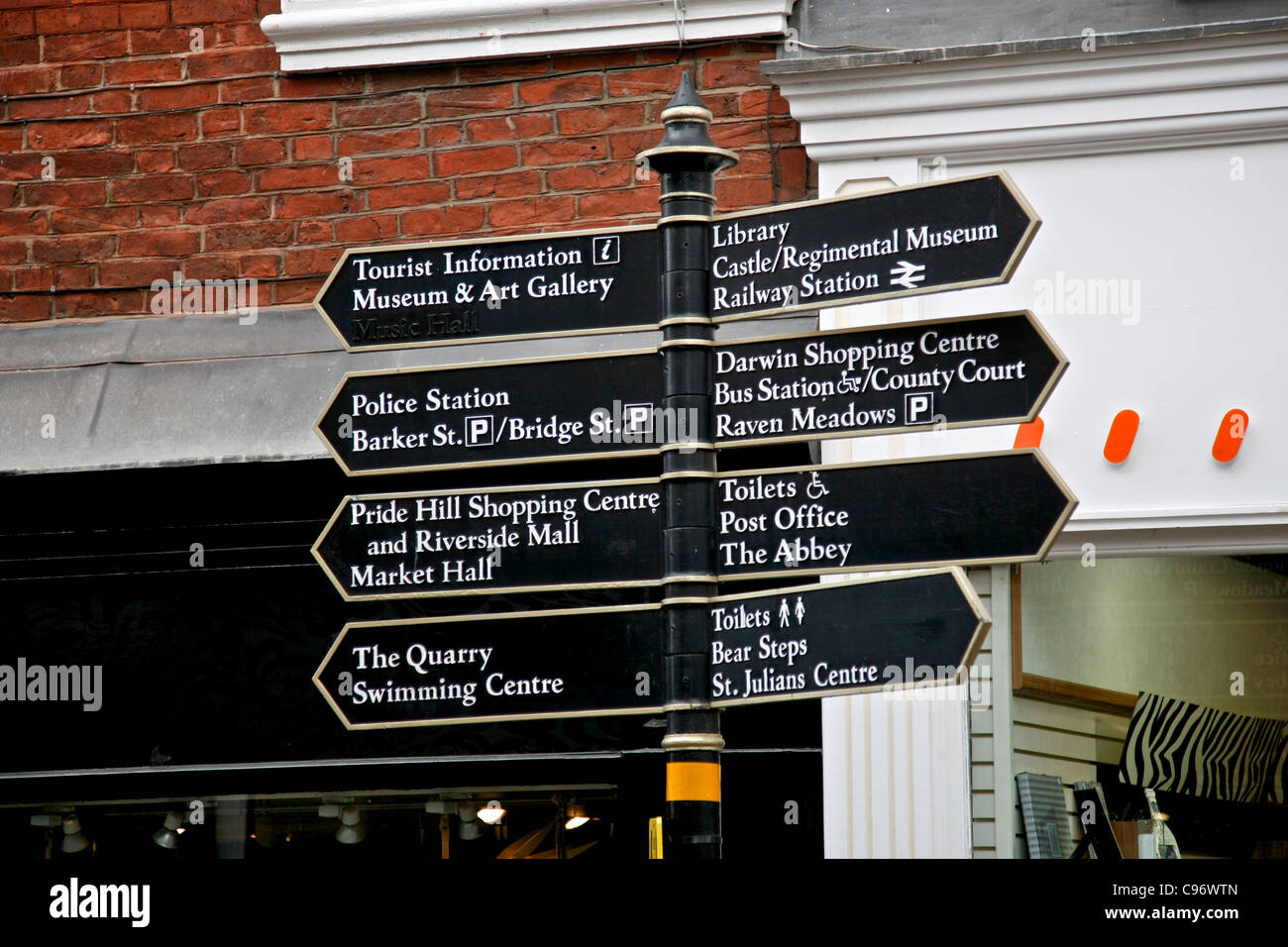 Tourist Signpost in the centre of the borders town of Shrewsbury - Stock Image