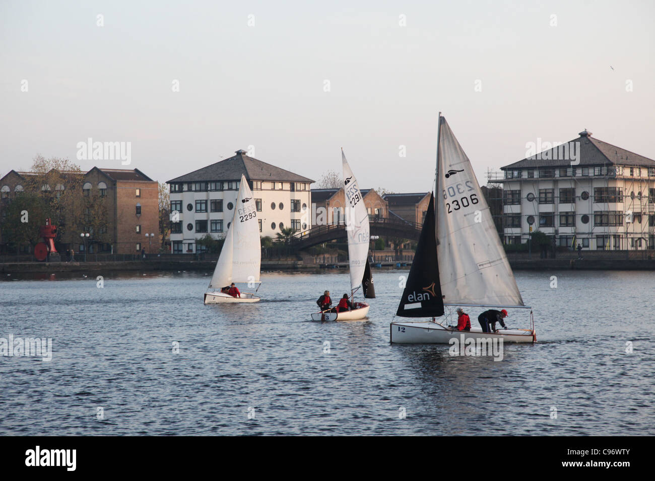 Sailing boats in London's Docklands area - Stock Image