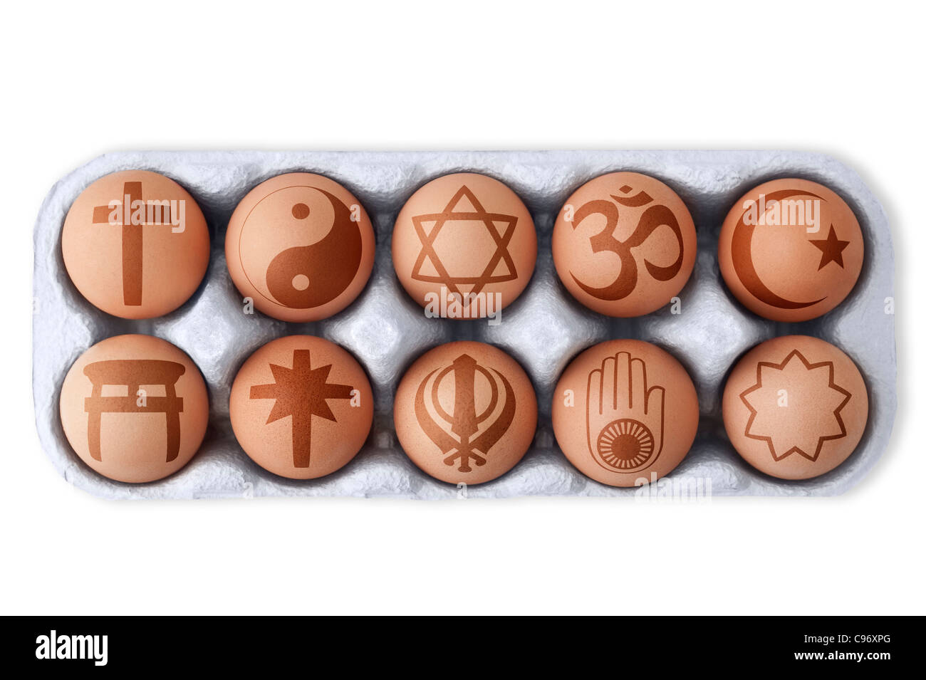 Box of eggs with different symbols of global religious doctrines printed on each one.  White background, Cutout Stock Photo