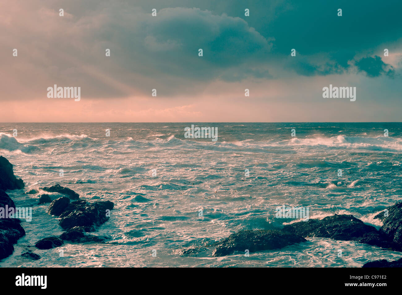 Rough Pacific Ocean waves off the coast of Vancouver Island, British Columbia, Canada Stock Photo