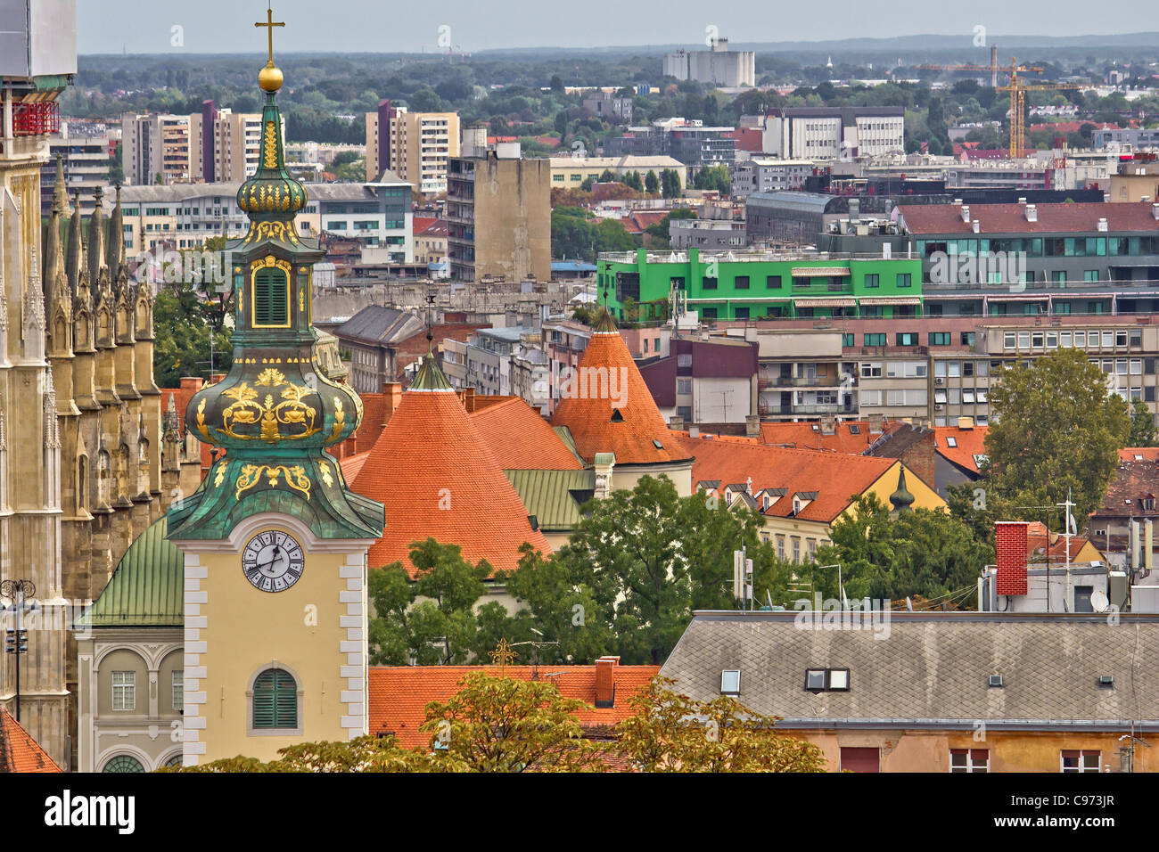 Zagreb rooftops and church tower - Stock Image