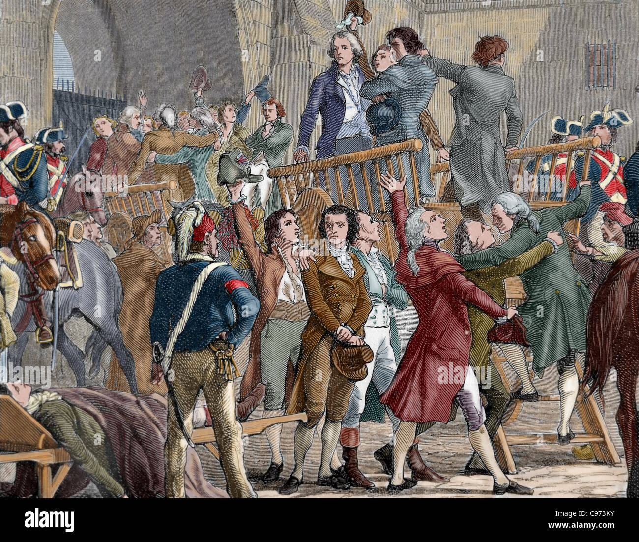 French Revolution (1789). The Girondists out of jail to go to the gallows. Colored engraving. - Stock Image