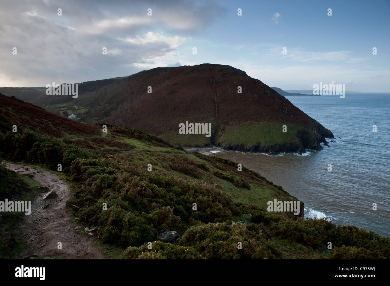The bay of Cwmtydu as seen from the Ceredigion Coast path near New Quay, Wales - Stock Image