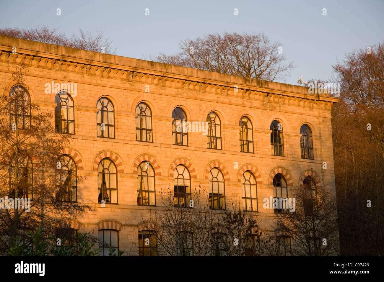 former cotton mill turned into modern apartment building in ramsbottom,lancashire,england - Stock Image