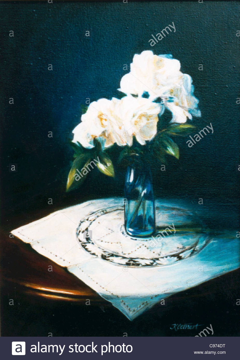 Rose Still Life lgemlde - Stock Image