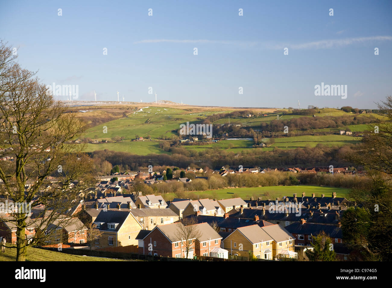 lancashire landscape around ramsbottom and holcombe in the west pennine hills,england - Stock Image