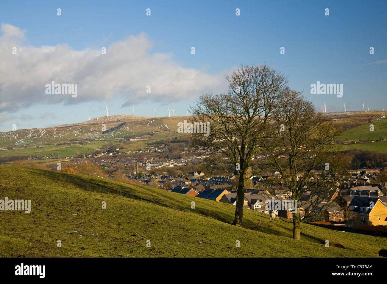 landscape of west pennine moors, near ramsbottom,lancashire,england, scout moor wind turbines in the distance - Stock Image