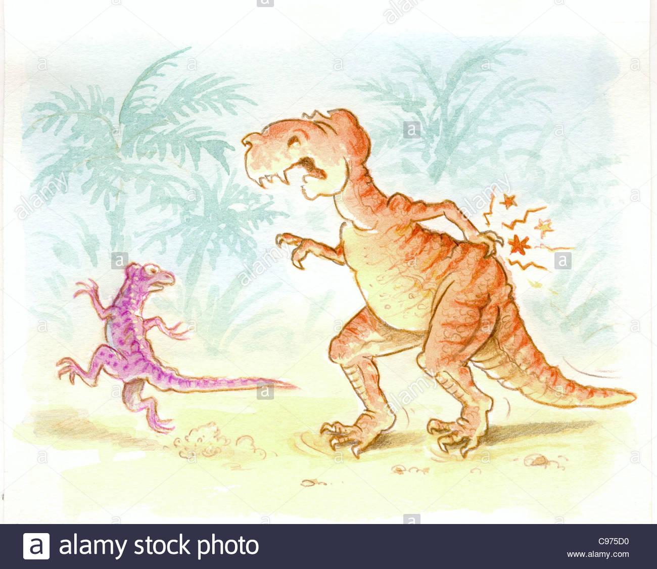 Dinosaur extinction because Herniated Disc - Stock Image